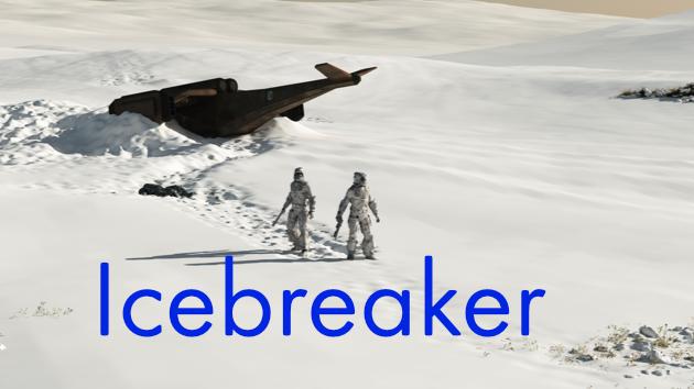 sci fi snowscape, and the title Icebreaker